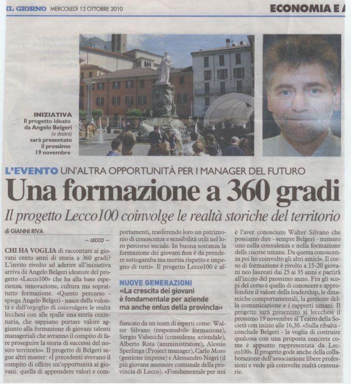 Intervista Il Giorno del 13 ottobre 2010 progetto Lecco100